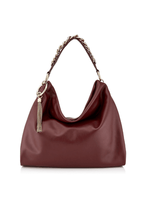 CALLIE/L Bordeaux Calf Leather Slouchy Shoulder Bag with Gold Chain Strap