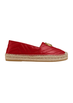 Chevron leather espadrille with Double G
