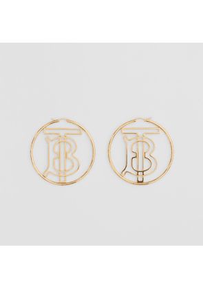 Burberry Gold-plated Monogram Motif Hoop Earrings, Yellow