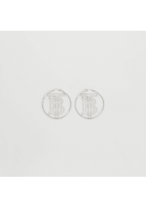 Burberry Palladium-plated Monogram Motif Hoop Earrings, Grey