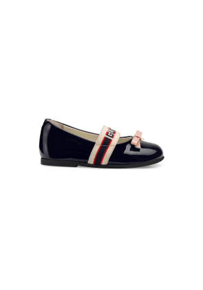Toddler patent leather ballet flat with Gucci stripe