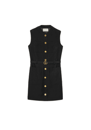 Cady silk wool vest with Double G