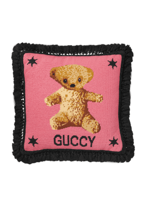 Needlepoint cushion with teddy bear
