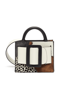 'Bobby 18' suede panelled calf hair buckled leather satchel