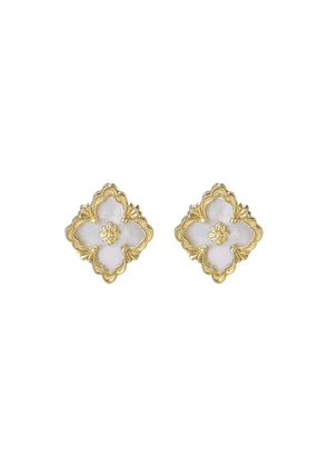 'Opera' Mother of Pearl yellow gold stud earrings