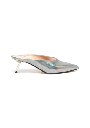 'Aster' holographic leather mules