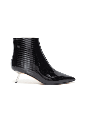 'Libra' cutout triangle patent leather ankle boots