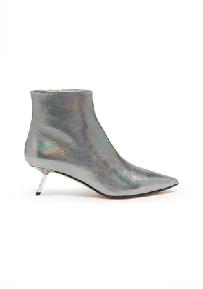 'Quake' holographic leather ankle boots