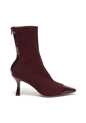 Contrast patent leather toe sock boots