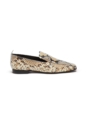 Snake-embossed leather loafers