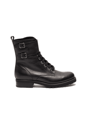 'Goldy' lace up leather biker boots