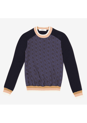 Crew Neck Top With Silk Bally Wing Printed Front