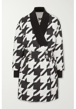 Balmain - Button-embellished Houndstooth Quilted Shell Down Coat - Black