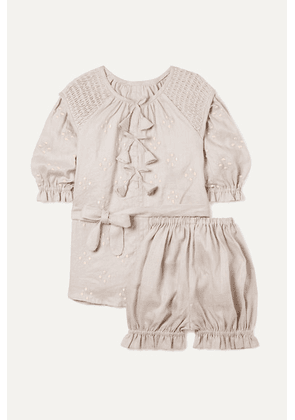 Innika Choo Kids - Smocked Embroidered Linen Dress And Bloomers Set - Gray