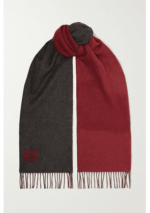 Loewe - Fringed Embroidered Two-tone Wool And Cashmere-blend Scarf - Black
