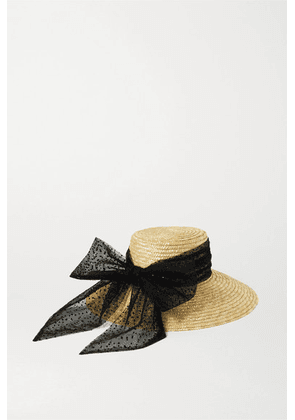 Eugenia Kim - Annabelle Swiss-dot Tulle-trimmed Straw Hat - Yellow