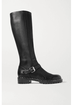Christian Louboutin - Meteorita 30 Studded Ribbed Leather Knee Boots - Black