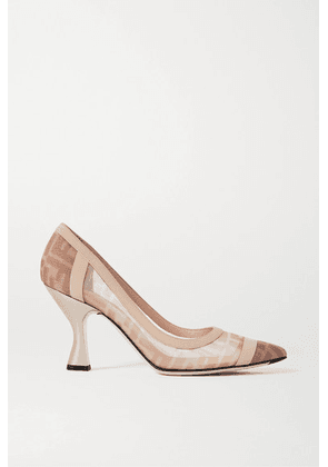 Fendi - Colibrì Logo-print Mesh And Leather Pumps - Blush