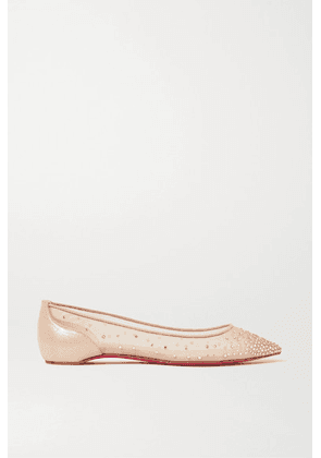 Christian Louboutin - Follies Swarovski Crystal-embellished Mesh And Lamé Point-toe Flats - Neutral