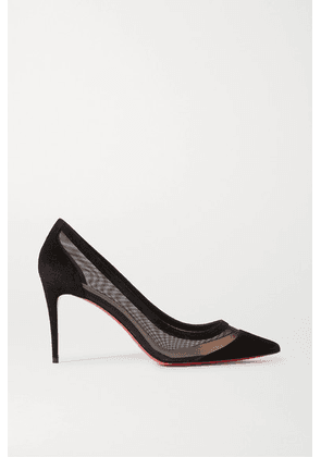 Christian Louboutin - Galativi 85 Mesh And Suede Pumps - Black
