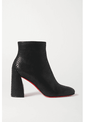 Christian Louboutin - Turela 85 Lizard-effect Leather Ankle Boots - Black