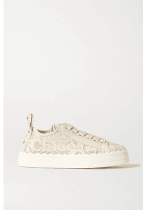 Chloé - Lauren Scalloped Lace, Leather And Canvas Sneakers - Off-white