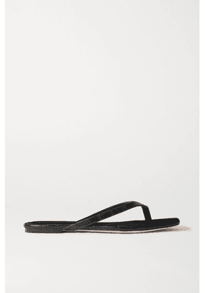 STUDIO AMELIA - 2.2 Croc-effect Vegan Leather Flip Flops - Black