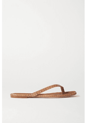 STUDIO AMELIA - 2.2 Croc-effect Vegan Leather Flip Flops - Neutral