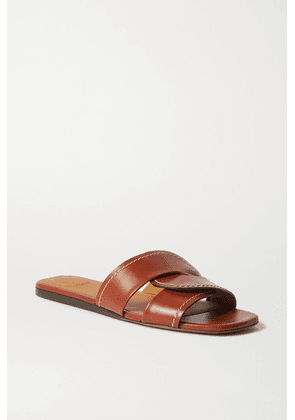 Chloé - Candice Topstitched Leather Slides - Brown