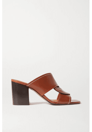 Chloé - Candice Topstitched Leather Mules - Tan