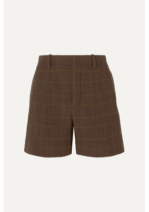 Chloé - Checked Wool-blend Shorts - Brown