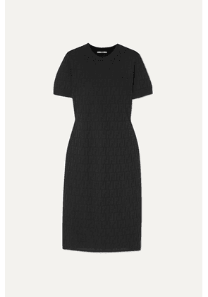 Fendi - Pointelle-knit Cotton-blend Midi Dress - Black