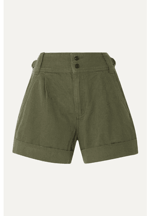 Current/Elliott - Cotton And Linen-blend Twill Shorts - Army green