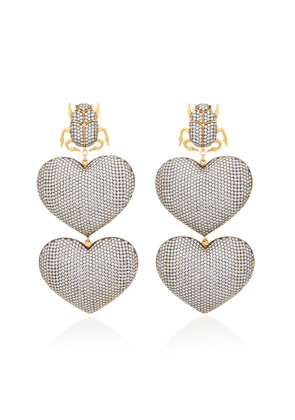 Begum Khan Scarab Mon Amour 24K Gold-Plated Crystal Earrings