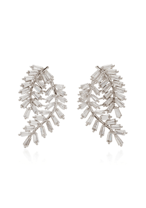 FALLON Fern Silver-Tone Crystal Earrings