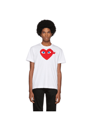 Comme des Garcons Play White Big Heart Blue Eyes T-Shirt