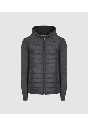 Reiss Gamble - Quilted Zip Through Hoodie in Charcoal, Mens, Size XS