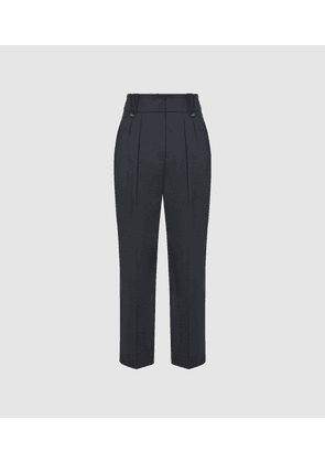 Reiss Hendrix - High Waisted Pleat Front Trousers in Dark Blue, Womens, Size 4