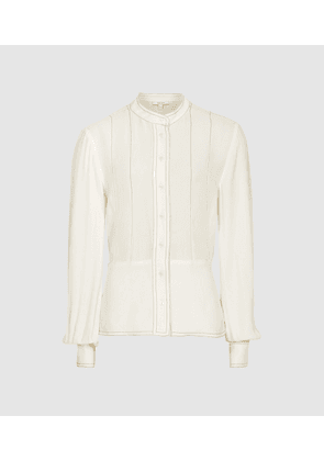 Reiss Shelley - Grandad Collar Blouse With Stitch Detailing in Cream, Womens, Size 4