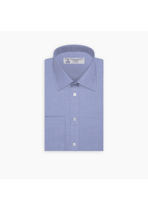 Blue Herringbone Superfine Cotton Shirt with T & A Collar and Double.