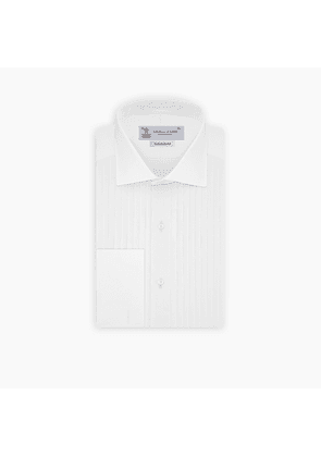 Tailored Fit White Pleated Front Shirt with Kent Collar and Double.