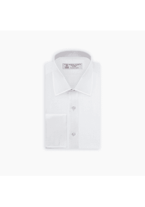 White Herringbone Sea Island Quality Cotton Shirt with T & A Collar.