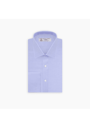 Light Blue Herringbone Sea Island Quality Cotton Shirt with T & A.