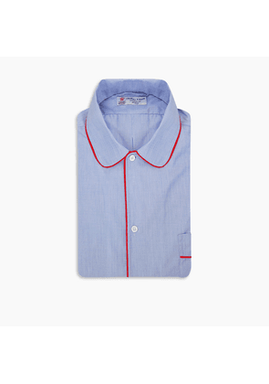 Blue End-on-End Piped Cotton Nightshirt