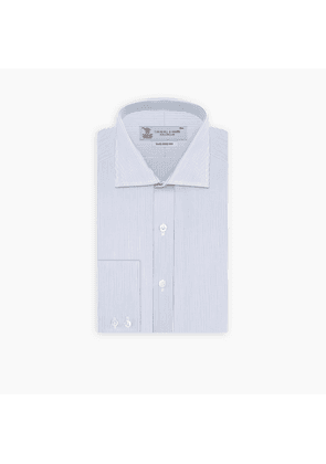 Tailored Fit Blue and White Fine Stripe Shirt with Kent Collar and.