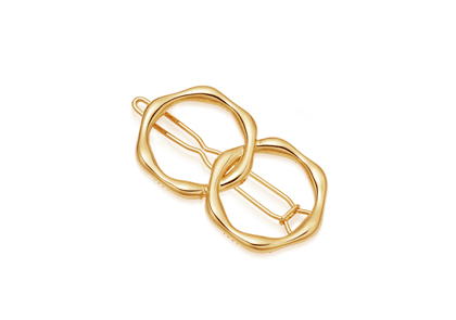 Gold Double Molten Hair Clip - Gold Plated Brass