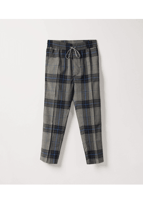 Elastic Cropped George Trousers Prince of Wales Check Blue