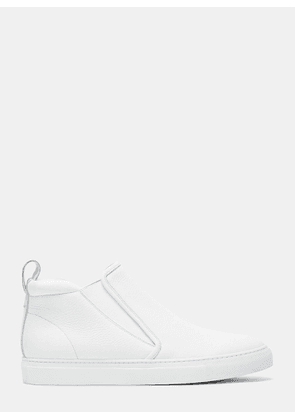 Aiezen Men's High-Top Slip-On Grained Leather Sneakers in White size EU - 40