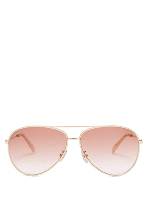 Celine Eyewear - Aviator Metal Sunglasses - Womens - Pink Gold