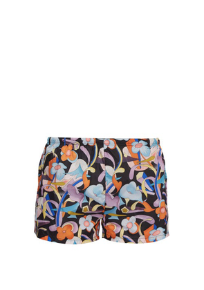 Prada - Abstract Floral-print Swim Shorts - Mens - Black Orange